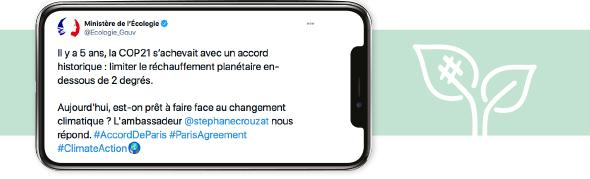 Image du tweet avec la vidéo de l'interview de Stéphane Crouzat, ambassadeur en charge des négociations climatique.