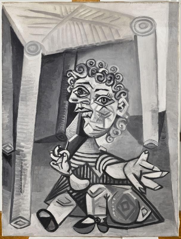Pablo Picasso, Enfant à la sucette assis sous une chaise, Paris ou Mougins, 27 juillet 1938. Huile sur toile. © RMN-Grand Palais (Musée national Picasso-Paris) / Rachel Prat/Succession Picasso 2021