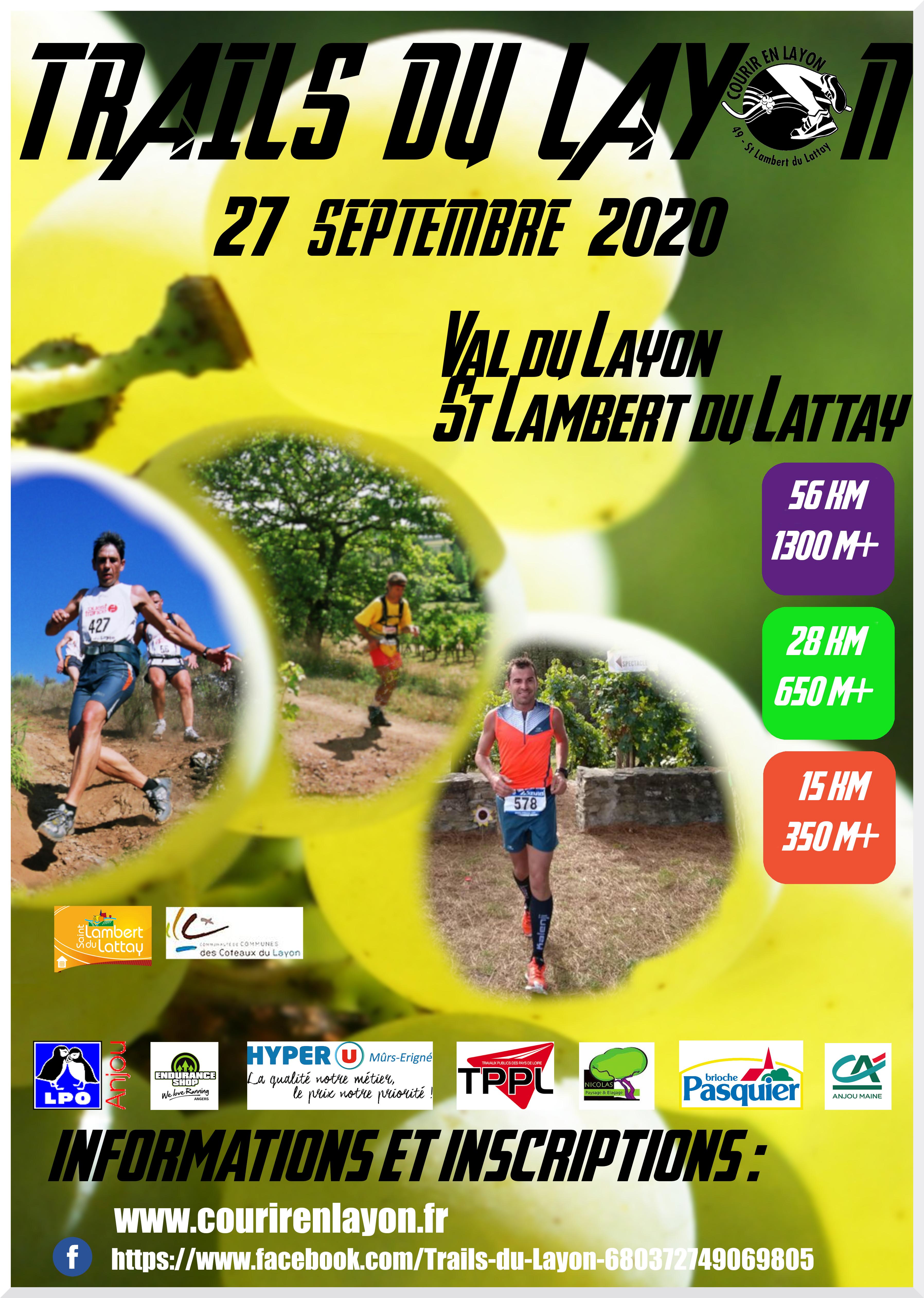 LE TRAIL DU LAYON (49) - SAINT-LAMBERT-DU-LATTAY (49), c'est le Dimanche 27 Septembre 2020