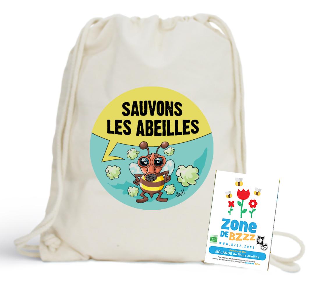 Le sac en coton bio et un sachet de graines mellifères