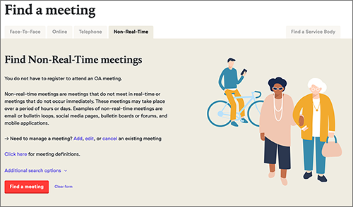 Search for non-real-time meetings like any other meeting.